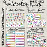 Watercolor word wall, tags, nameplates and welcome banner Bundle!