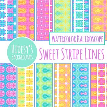 Watercolored Lines and Stripes Background / Digital Paper Clip Art Commercial