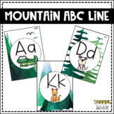 Water Color Mountain Theme Decor ABC Line with Animal Pictures