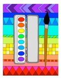 Watercolors DESIGN Coloring Page