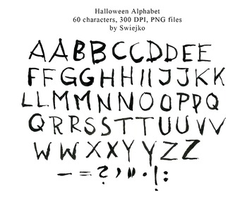 Watercolour Alphabet Clipart, Halloween, Letters, Scarry, Silhouette