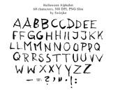 Watercolour Alphabet Clipart, Halloween, Letters, Scarry, Silhouette