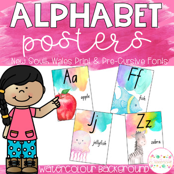 Watercolour Alphabet Posters - New South Wales Print and Pre-Cursive Fonts