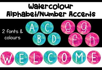 Watercolour Alphabet and Number Display Accents