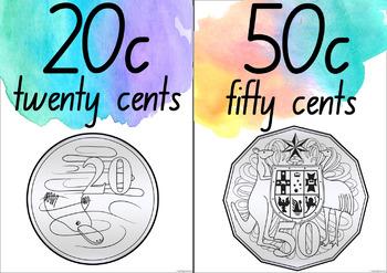 Watercolour Australian Money Posters - New South Wales Fonts