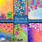 Watercolour Butterfly Border Digital Paper Set