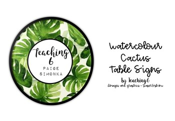 Watercolour Cactus Table Signs