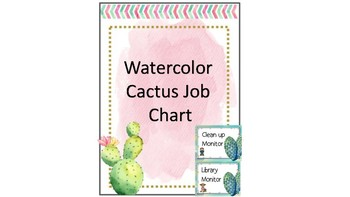 Watercolour Cactus Theme Job Chart