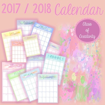 Watercolour Calender 2016 - 2017