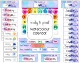 Watercolour Classroom Calendar Pack