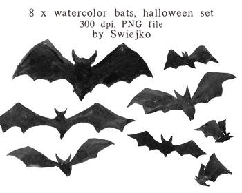 Watercolour Clipart, Halloween, Bats Clipart, Scarry, Silhouette
