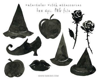 Watercolour Clipart, Halloween Clipart, Scarry Witch, Digital Watercolor