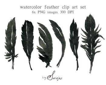 Watercolour Clipart, Halloween, Feather Clipart, Silhouette