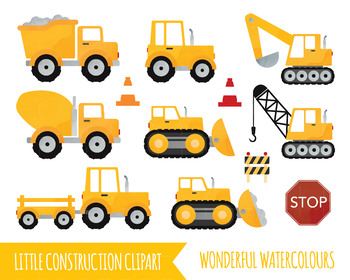 Watercolour Construction clipart, truck clipart, lorry clipart, tractor clipart,