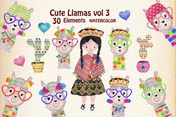 Watercolour Cute Funny Llama Clipart
