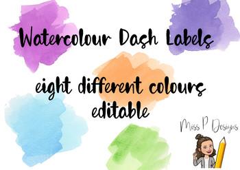 Watercolour Dash Classroom Labels ((EDITABLE))