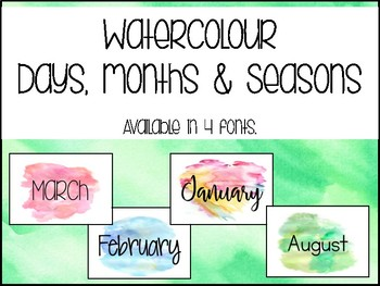 Watercolour Days/Months/Seasons Posters- 4 Font Options