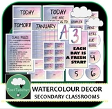 Watercolour Décor Set for Secondary Classrooms– 110+ Signs Posters Calendars