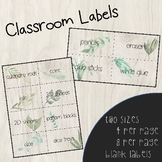 Watercolour Greenery Classroom Labels