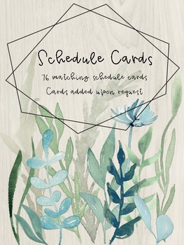 Watercolour Greenery Schedule Cards