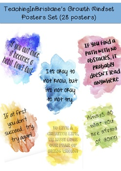 Watercolour Growth Positive Mindset Classroom Posters