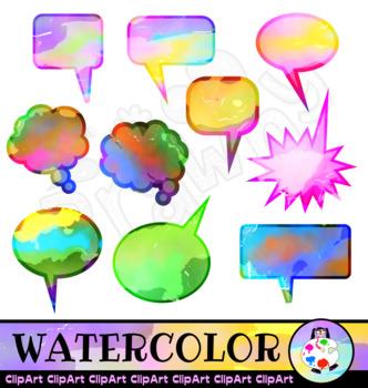 Watercolour Ink Word Bubble ClipArt Set