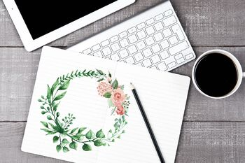 Watercolour Leaf Wreath Clipart, Wedding Digital Elements, Wreath with Roses