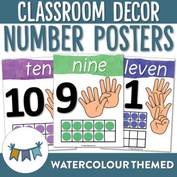 Watercolour Number Posters