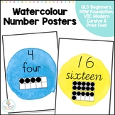 Watercolour Number 1-20 Posters