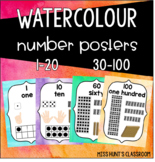 Watercolour Number Posters {fingers, tally marks, dice, te