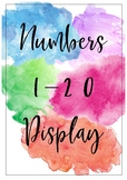 Watercolour Numbers 1-20 Classroom Display (with 10 frame)
