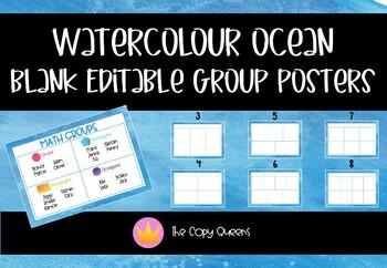 Watercolour Ocean Theme Editable Group Posters