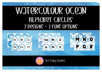 Watercolour Ocean Word Wall / Alphabet Circles