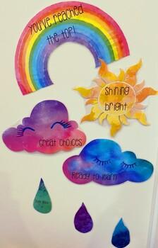 Watercolour Rainbow Themed Behaviour Chart