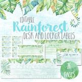 Watercolour Rainforest EDITABLE Desk and Locker Labels