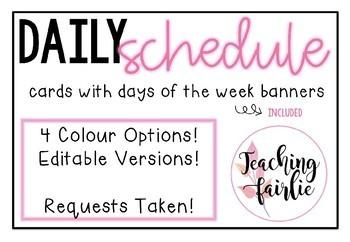 Watercolour Schedule Cards *Bonus Extra!