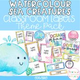 WATERCOLOUR SEA CREATURES Editable Name Tags, Labels, Posters & Door Display