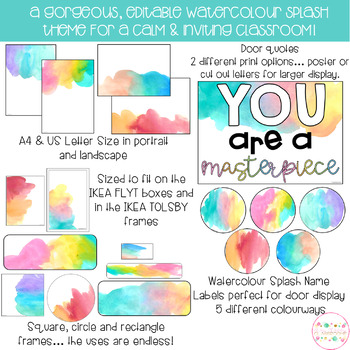 Watercolour Splash Classroom Theme Pack - Editable Name Tags, Labels and Posters