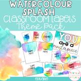 WATERCOLOUR SPLASH Editable Name Tags, Labels, Posters & D