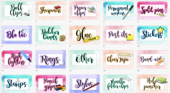 Watercolour Teachers toolkit labels  - Editable resource labels watercolor