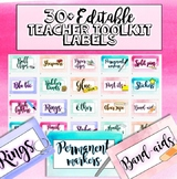 Watercolour Teachers toolkit labels  - Editable resource l