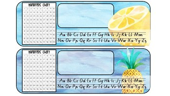 Watercolour/Tropical Desk Name Labels (VIC Font)