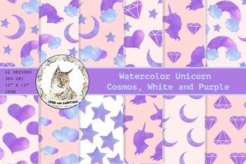 Watercolour Unicorn Paper Pattern Cosmos, White and Purple