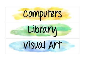 Watercolour Visual Timetable