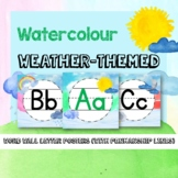 Watercolour Weather-Themed Word Wall Letters Posters   Penmanship lines