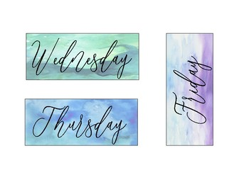 Watercolour Weekly News Timetable