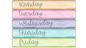 Weekly Planner Drawer Labels (Watercolour)