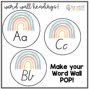 Watercolour Word Wall Headings & Number & Alphabet Posters