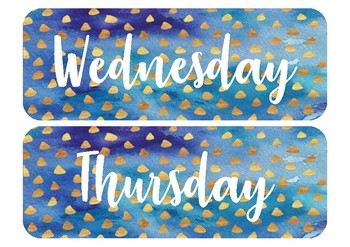 Watercolour & gold days of the week - printable