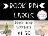 Watercolour woodland theme book bin number labels